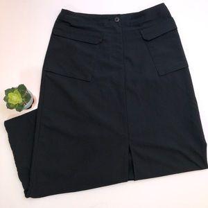 Patagonia Black Nylon Slit Maxi Skirt Size 6